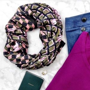Olive, Navy, and Pink Geo Floral Square Scarf